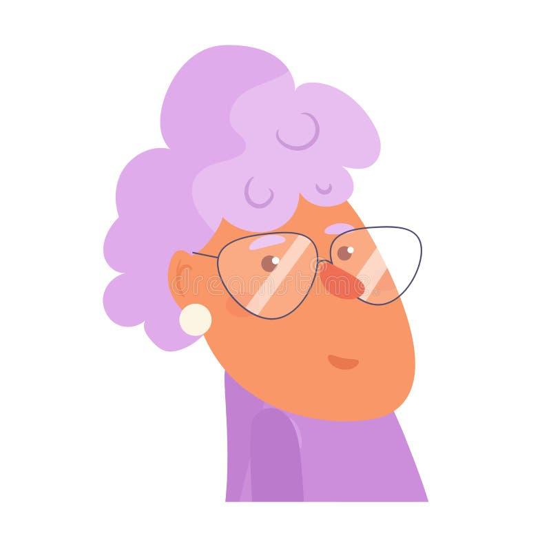 Vetor da avó cartoon Arte isolada no fundo branco liso ilustração royalty free