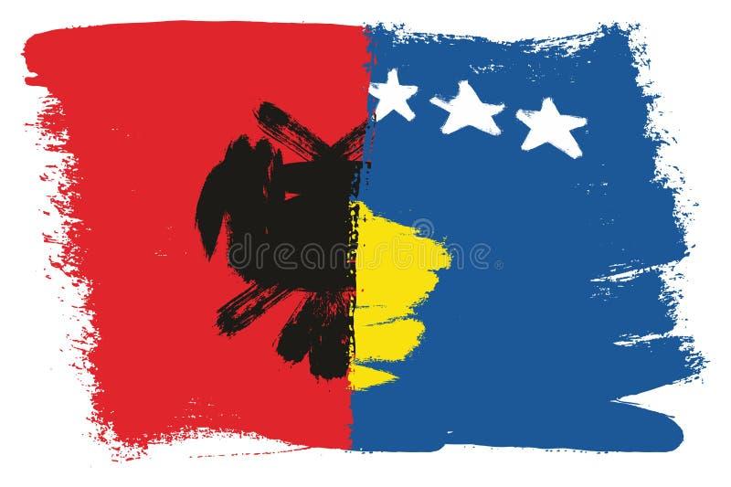 Vetor da bandeira de Albânia & da bandeira de Kosovo pintado à mão com escova arredondada ilustração stock