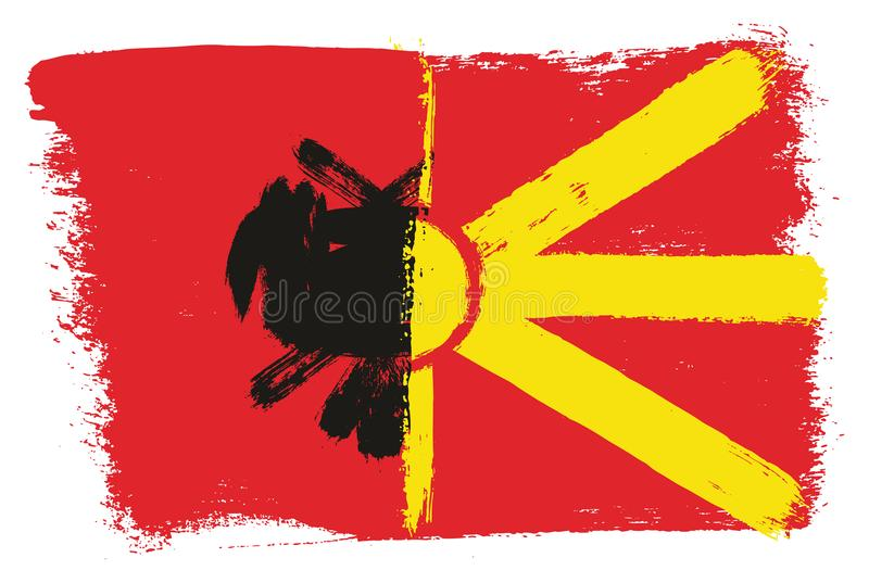 Vetor da bandeira de Albânia & da bandeira de Macedônia pintado à mão com escova arredondada ilustração royalty free