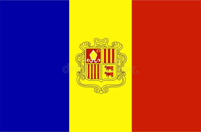 Vetor da bandeira de Andorra Ilustração da bandeira nacional de Andorra ilustração royalty free