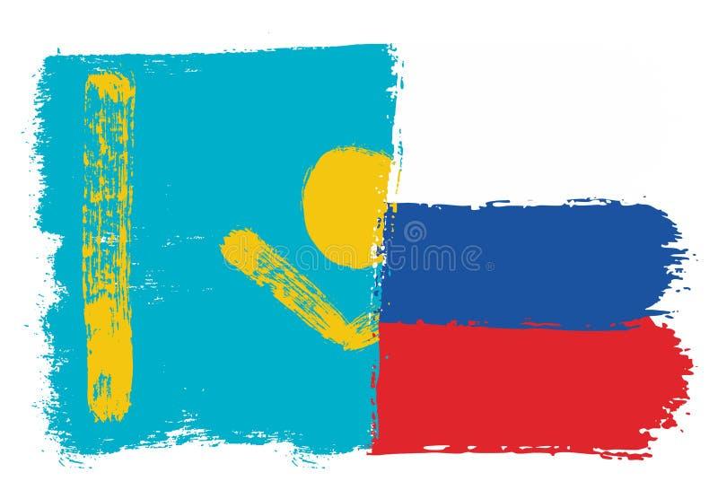 Vetor da bandeira de Cazaquistão & da bandeira de Rússia pintado à mão com escova arredondada ilustração stock