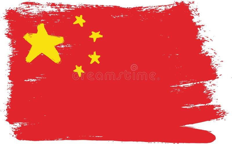 Vetor da bandeira de China pintado à mão com escova arredondada ilustração do vetor