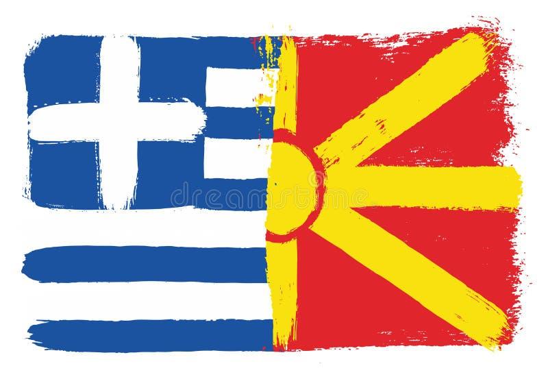 Vetor da bandeira de Grécia & da bandeira de Macedônia pintado à mão com escova arredondada ilustração do vetor