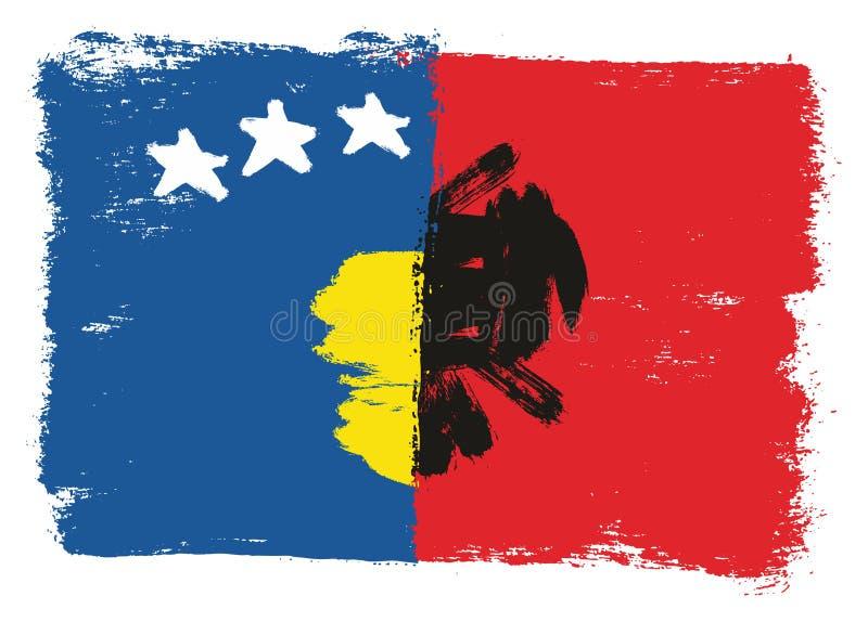 Vetor da bandeira de Kosovo & da bandeira de Albânia pintado à mão com escova arredondada ilustração royalty free
