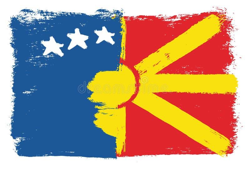 Vetor da bandeira de Kosovo & da bandeira de Macedônia pintado à mão com escova arredondada ilustração stock