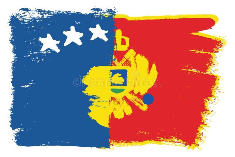 Vetor da bandeira de Kosovo & da bandeira de Montenegro pintado à mão com escova arredondada ilustração royalty free