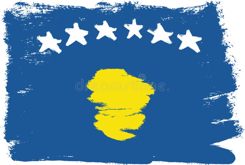 Vetor da bandeira de Kosovo pintado à mão com escova arredondada ilustração do vetor
