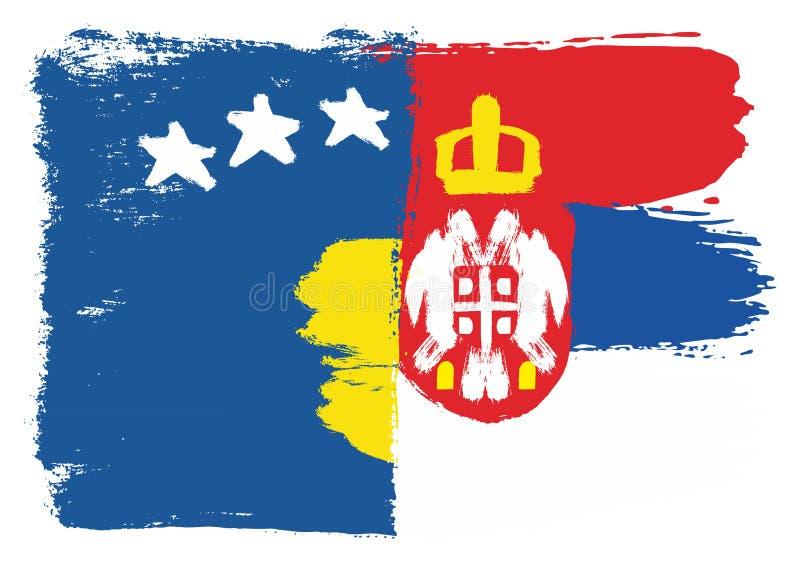 Vetor da bandeira de Kosovo & da bandeira da Sérvia pintado à mão com escova arredondada ilustração royalty free