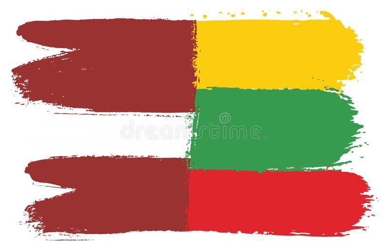 Vetor da bandeira de Letónia & da bandeira de Lituânia pintado à mão com escova arredondada ilustração royalty free