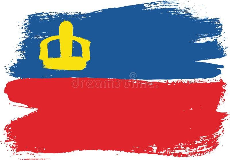 Vetor da bandeira de Liechtenstein pintado à mão com escova arredondada ilustração royalty free