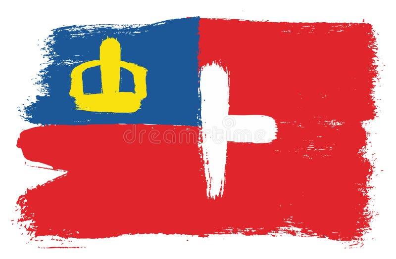 Vetor da bandeira de Liechtenstein & da bandeira de Suíça pintado à mão com escova arredondada ilustração do vetor