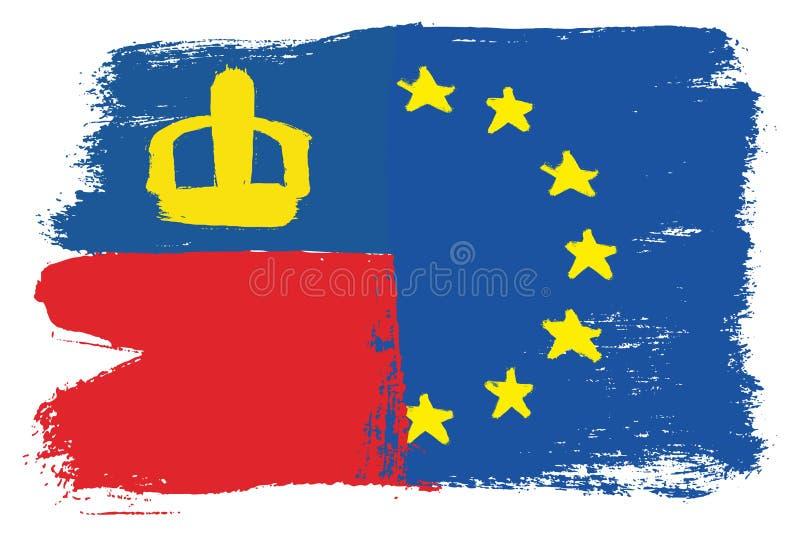 Vetor da bandeira de Liechtenstein & da bandeira da União Europeia pintado à mão com escova arredondada ilustração royalty free