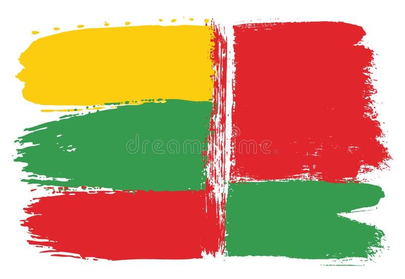 Vetor da bandeira de Lituânia & da bandeira de Bielorrússia pintado à mão com escova arredondada ilustração royalty free