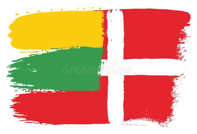 Vetor da bandeira de Lituânia & da bandeira de Dinamarca pintado à mão com escova arredondada ilustração do vetor