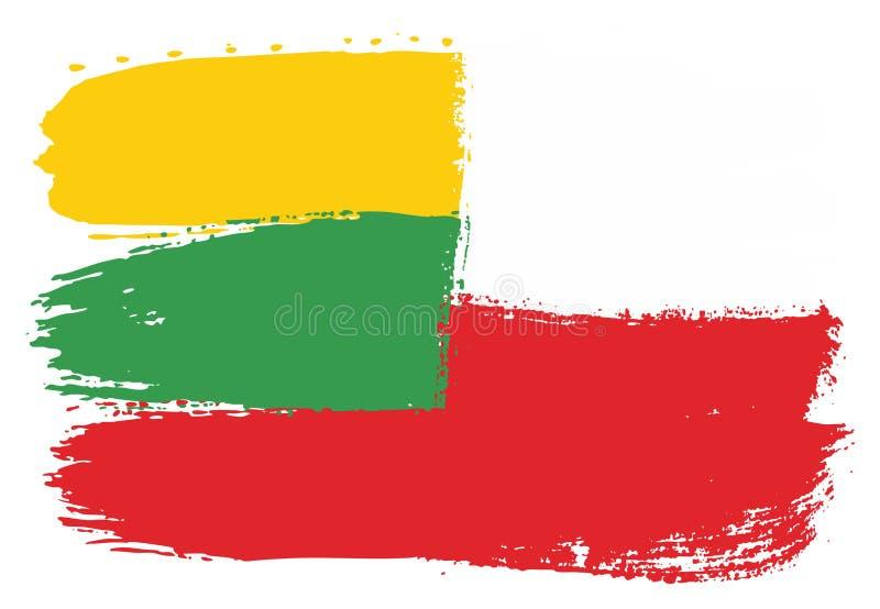 Vetor da bandeira de Lituânia & da bandeira do Polônia pintado à mão com escova arredondada ilustração do vetor