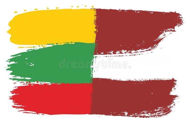 Vetor da bandeira de Lituânia & da bandeira de Letónia pintado à mão com escova arredondada ilustração do vetor