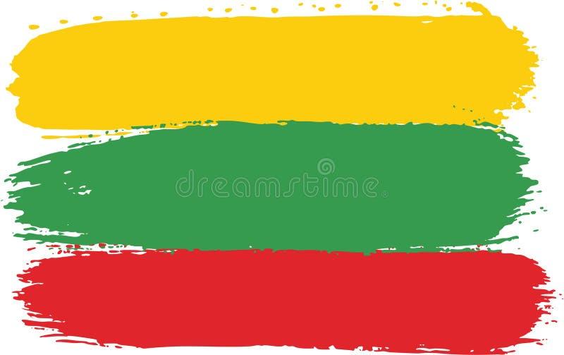 Vetor da bandeira de Lituânia pintado à mão com escova arredondada ilustração stock