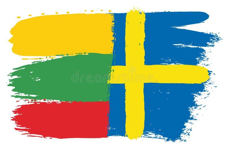 Vetor da bandeira de Lituânia & da bandeira da Suécia pintado à mão com escova arredondada ilustração royalty free