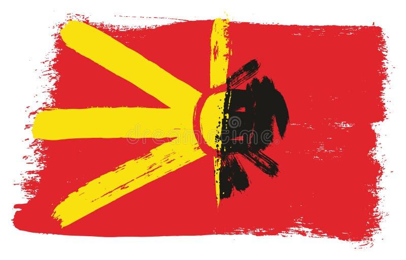 Vetor da bandeira de Macedônia & da bandeira de Albânia pintado à mão com escova arredondada ilustração royalty free