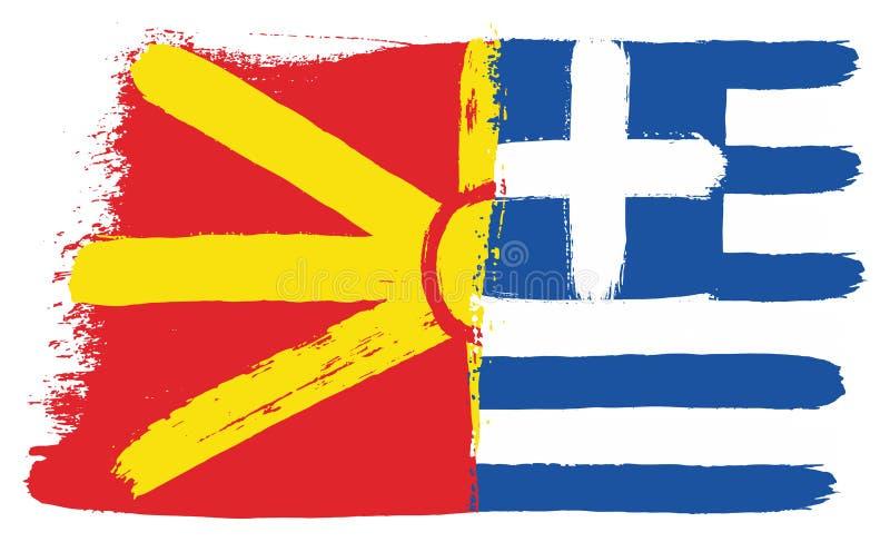 Vetor da bandeira de Macedônia & da bandeira de Grécia pintado à mão com escova arredondada ilustração royalty free