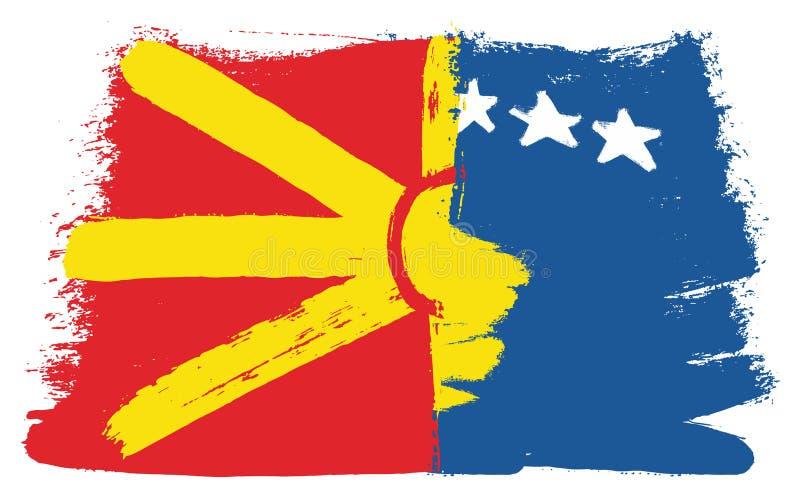 Vetor da bandeira de Macedônia & da bandeira de Kosovo pintado à mão com escova arredondada ilustração stock