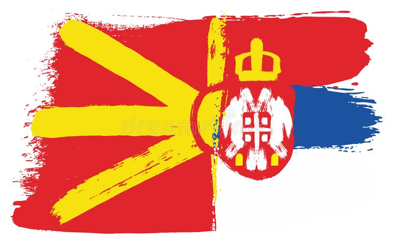 Vetor da bandeira de Macedônia & da bandeira da Sérvia pintado à mão com escova arredondada ilustração stock