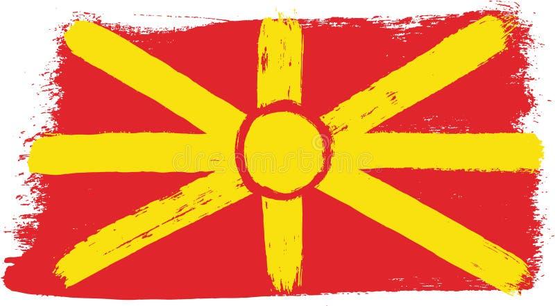 Vetor da bandeira de Macedônia pintado à mão com escova arredondada ilustração royalty free