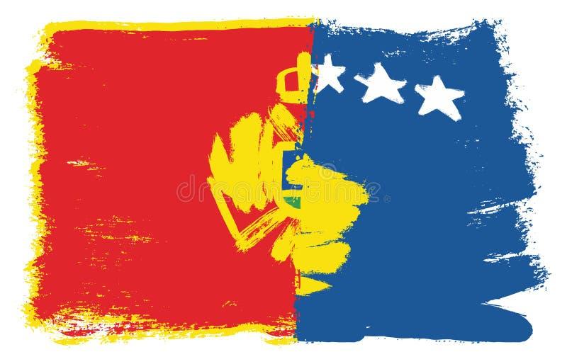 Vetor da bandeira de Montenegro & da bandeira de Kosovo pintado à mão com escova arredondada ilustração royalty free