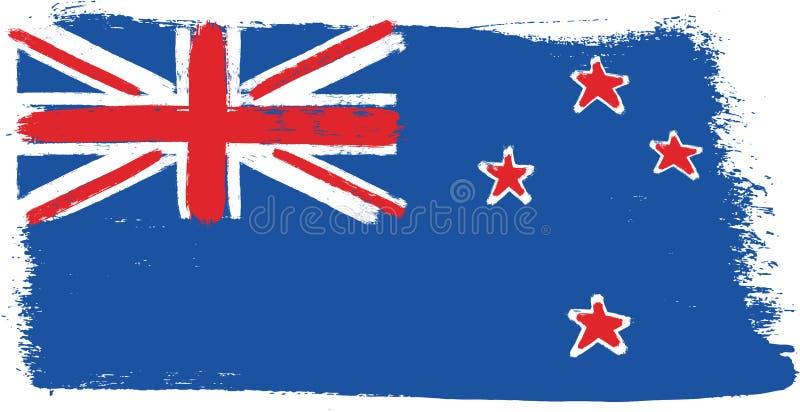 Vetor da bandeira de Nova Zelândia pintado à mão com escova arredondada ilustração royalty free