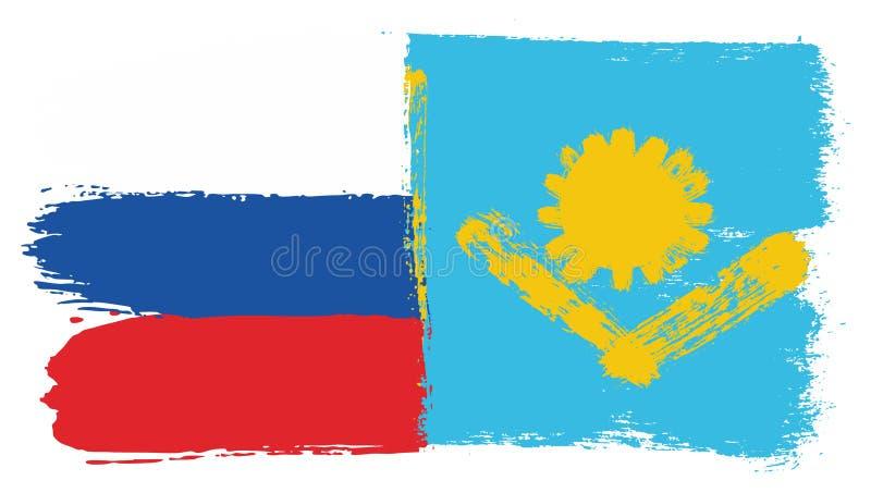 Vetor da bandeira de Rússia & da bandeira de Cazaquistão pintado à mão com escova arredondada ilustração do vetor