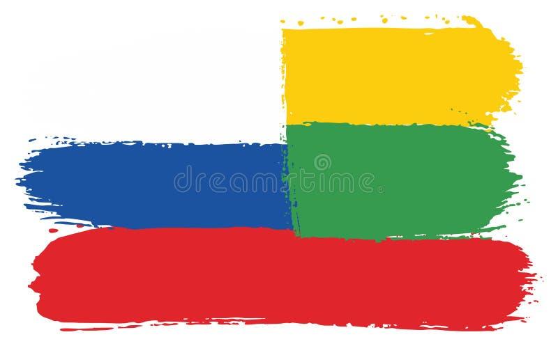 Vetor da bandeira de Rússia & da bandeira de Lituânia pintado à mão com escova arredondada ilustração stock