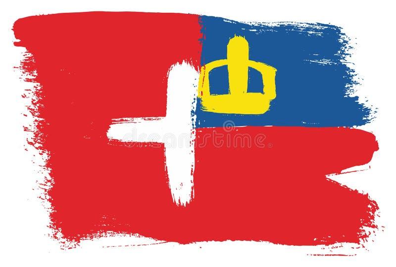 Vetor da bandeira de Suíça & da bandeira de Liechtenstein pintado à mão com escova arredondada ilustração do vetor