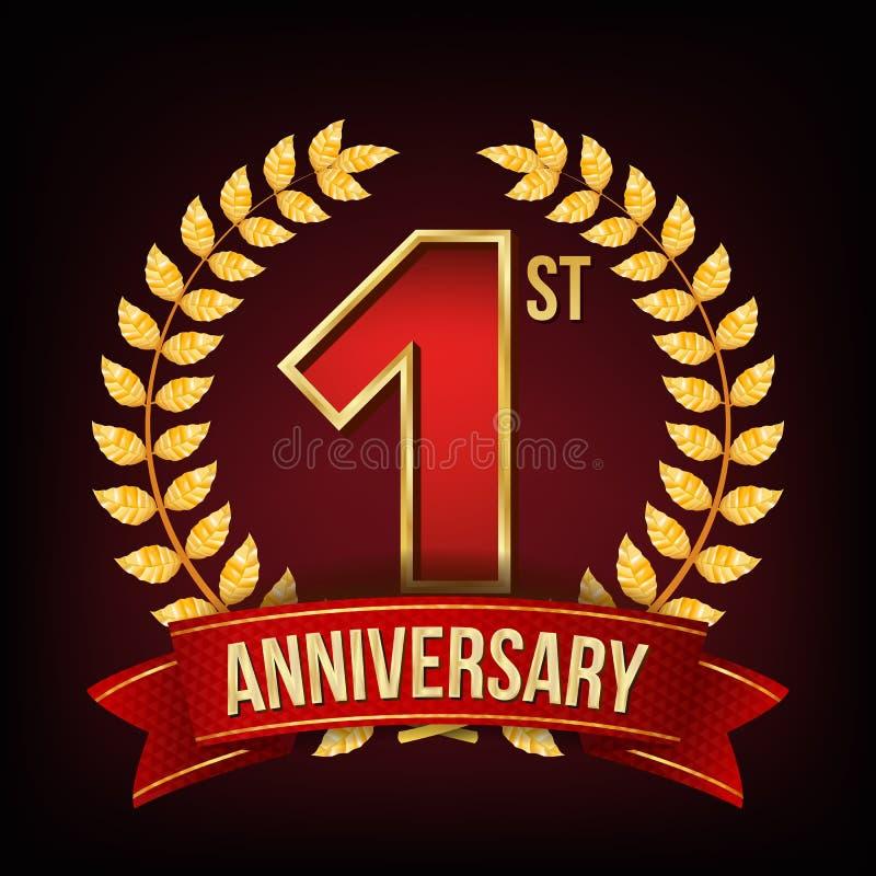 Vetor da bandeira de um aniversário de 1 ano Uma, primeira celebração Sinal de brilho do ouro Número um… Grinalda do louro Fita v ilustração royalty free
