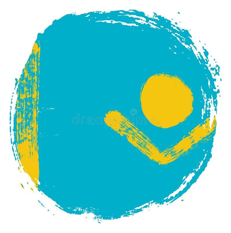 Vetor da bandeira do círculo de Cazaquistão pintado à mão com escova arredondada ilustração royalty free