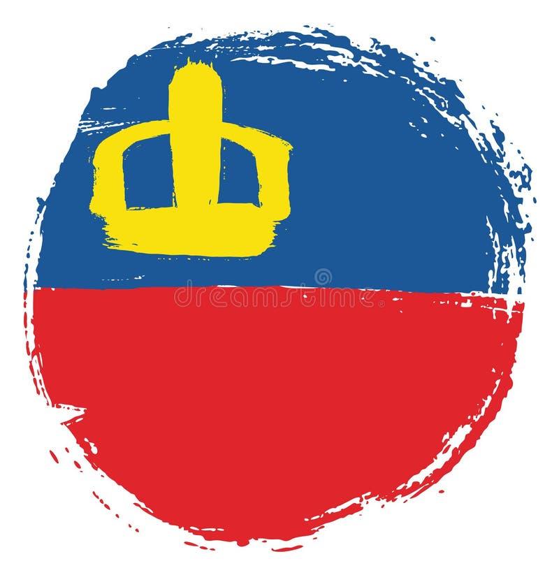 Vetor da bandeira do círculo de Liechtenstein pintado à mão com escova arredondada ilustração stock