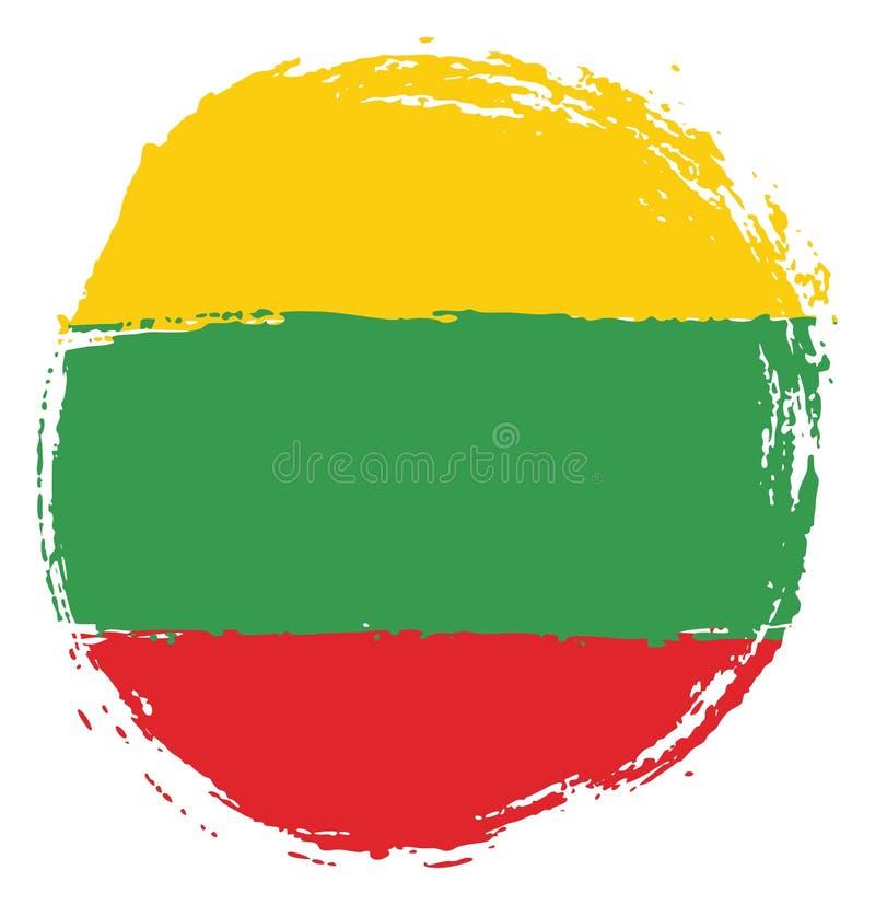 Vetor da bandeira do círculo de Lituânia pintado à mão com escova arredondada ilustração do vetor