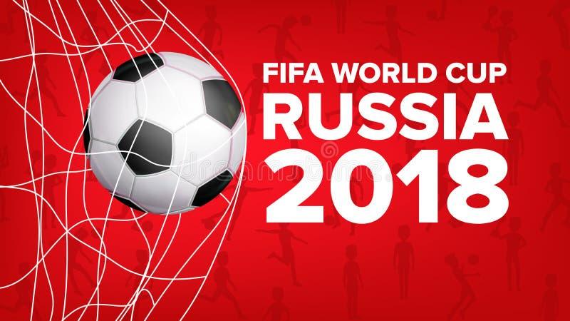 Vetor 2018 da bandeira do campeonato do mundo de FIFA Evento de Rússia Projeto do futebol para Requisito do futebol ball Gráfico  ilustração stock