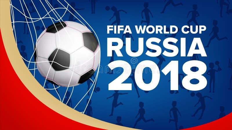 Vetor 2018 da bandeira do campeonato do mundo de FIFA Campeonato Rússia 2018 Anúncio do evento desportivo do futebol E ilustração do vetor