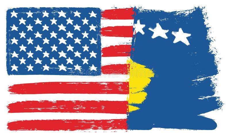 Vetor da bandeira do Estados Unidos da América & da bandeira de Kosovo pintado à mão com escova arredondada ilustração royalty free
