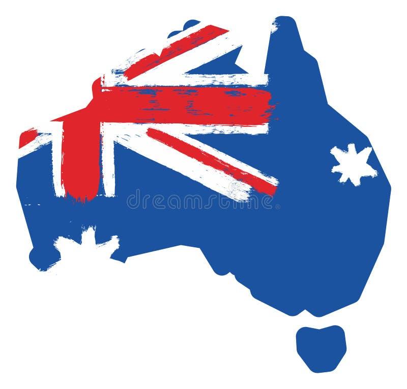 Vetor da bandeira & do mapa de Austrália pintado à mão com escova arredondada ilustração stock
