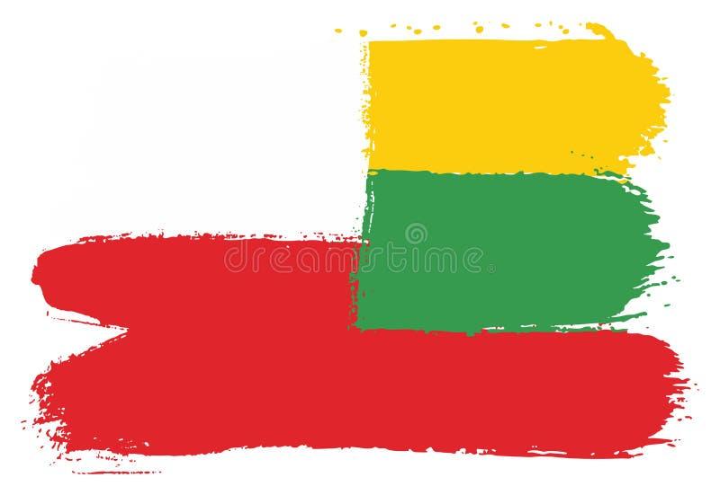Vetor da bandeira do Polônia & da bandeira de Lituânia pintado à mão com escova arredondada ilustração stock