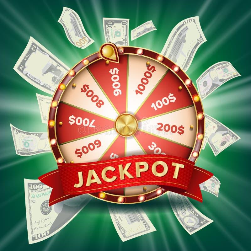 Vetor da bandeira da roda da fortuna Roda colorida Fundo de jogo do jackpot Ilustração de incandescência do clube do casino ilustração royalty free