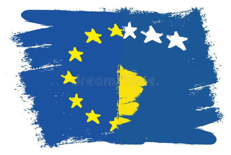 Vetor da bandeira da União Europeia & da bandeira de Kosovo pintado à mão com escova arredondada ilustração stock