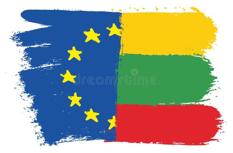 Vetor da bandeira da União Europeia & da bandeira de Lituânia pintado à mão com escova arredondada ilustração do vetor