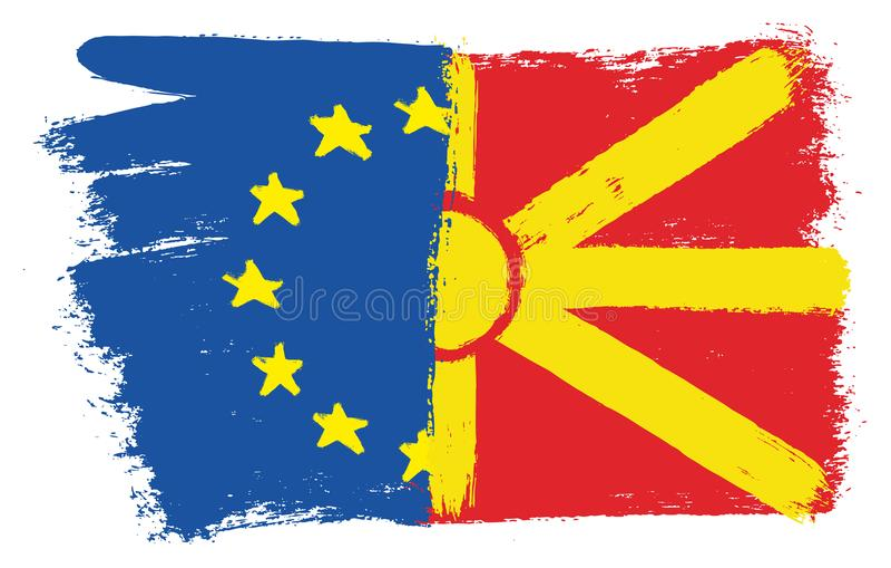 Vetor da bandeira da União Europeia & da bandeira de Macedônia pintado à mão com escova arredondada ilustração do vetor