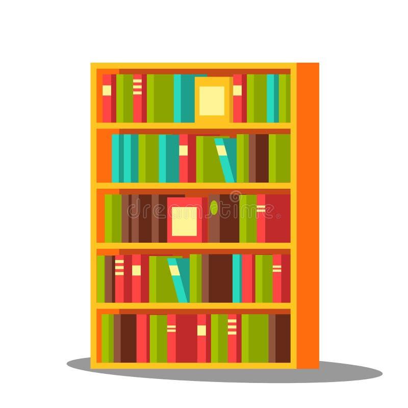 Vetor da biblioteca Casa, biblioteca Enciclopédia da pilha Educação Ilustração lisa isolada dos desenhos animados ilustração royalty free