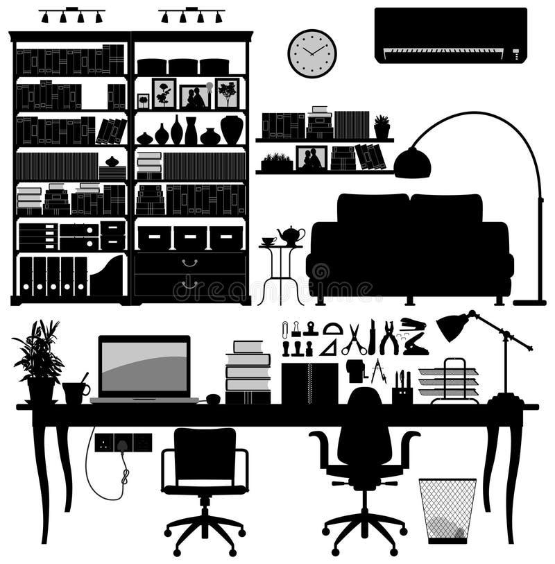 Vetor da biblioteca SOHO do escritório Home ilustração royalty free