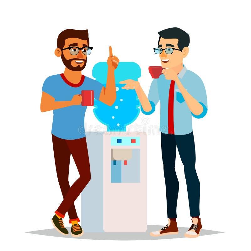 Vetor da bisbolhetice do refrigerador de água Refrigerador de água moderno do escritório Amigos de riso, homens dos colegas de es ilustração stock