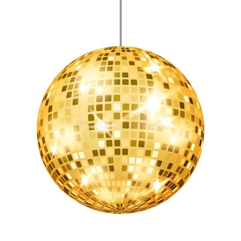 Vetor da bola do disco do ouro Elemento claro clássico do partido retro do clube de dança ilustração royalty free