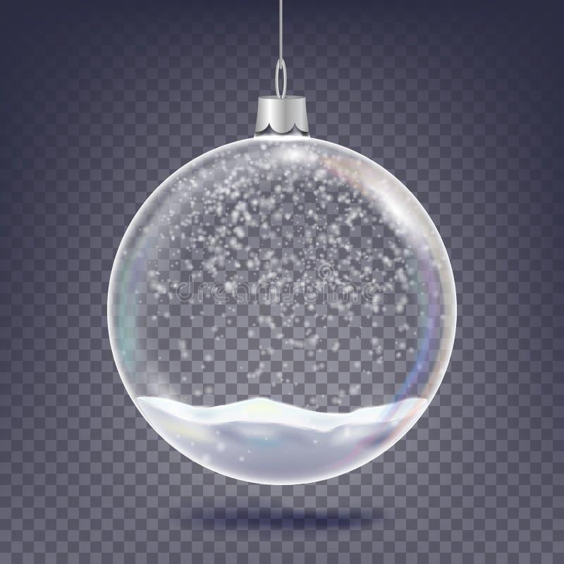 Vetor da bola do Natal Elemento de vidro da decoração da árvore clássica do Xmas Neve de brilho, floco de neve 3D realístico Em ilustração royalty free